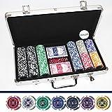 LUXUS POKERKOFFER 300 CHIPS Hologramm Chip LASERCHIPS Poker Koffer Set Jetons Metallkern Pokerset ~ds4
