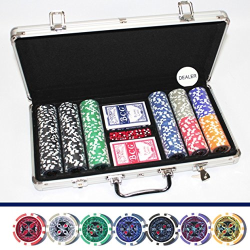 LUXUS POKERKOFFER 300 CHIPS Hologramm Chip LASERCHIPS Poker Koffer Set Jetons Metallkern Pokerset ~ds4
