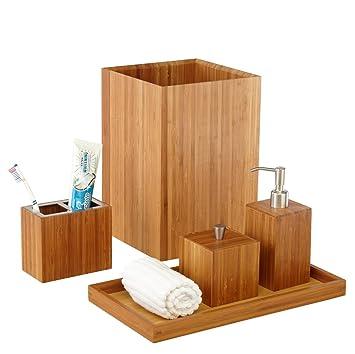 seville classics bamboo bath and vanity set 5 pcs amazoncouk kitchen home - Bamboo Bathroom Set Uk