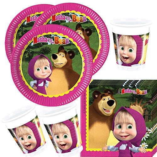 36-teiliges Party-Set Mascha und der Bär - Teller Becher Servietten für 8 Kinder Bären-teller