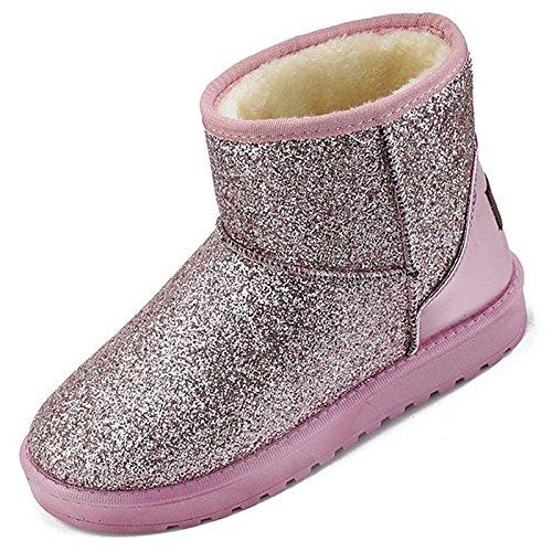 HSXZ Scarpe donna pu inverno Comfort stivali Null rotonda piatta Mid-Calf Toe Stivali / per esterno rosa grigio nero Pink