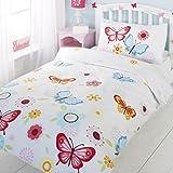 Parure de lit simple Papillon Blanc