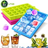 Gifort Eiswürfelform, Eiskugelform, DIY Silikon-Eiswürfelform, 3 Pack Silikon Eiswürfelformen-2.5cm Würfel Eiswürfel, Eiswürfelbehälter für Familie, Partys und Bars(Grün Blau Rot)