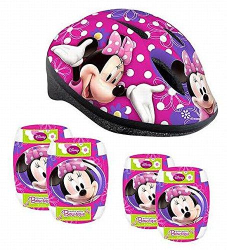 Kinder Fahrrad Helm + Protektoren Ellenbogen Knie Schützer Schoner Disney MINNIE MOUSE - Helm Disney