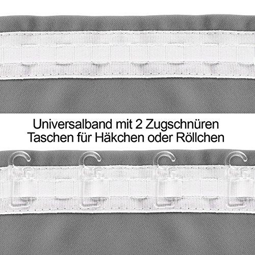 Gräfenstayn Alana Verdunklungsgardinen / Thermogardinen ca. 135 x 245 cm mit Universal-Kräuselband Gardine Vorhang (Grau) - 3