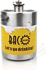 BACOENG Edelstahl Bier Growler Keg 2L mit Wein Pot Schraubdeckel