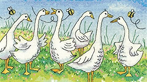Heritage Crafts Gossiping Geese Counted Cross Stitch Kit - Aida