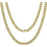 ChainsPro Collana da Donna a Catena Cubana Rotonda, da Uomo, 5/9/12/15 mm, Catena a Maglia Liscia placcata in Oro 18 carati/N