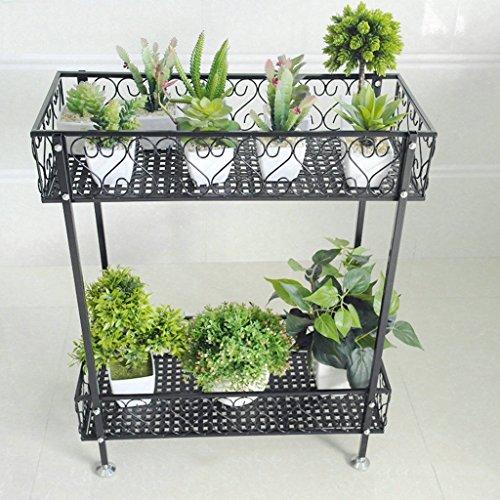 HJHY Porte-fleurs, Fer à double couche Balcon au sol Balcon à fleurs Ensemble à étagère intérieur et extérieur Bonsai Résistant à la corrosion, durable ( Couleur : Noir , taille : 50*20*12cm )