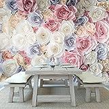 azutura Rosa Rose Blumen Fototapete Weißes Blaues Blumen Tapete Mädchen Wohnkultur Erhältlich in 8 Größen Riesig Digital