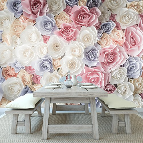 *azutura Rosa Rose Blumen Wandbild Weißes Blaues Blumen Foto-Tapete Mädchen Wohnkultur Erhältlich in 8 Größen Riesig Digital*