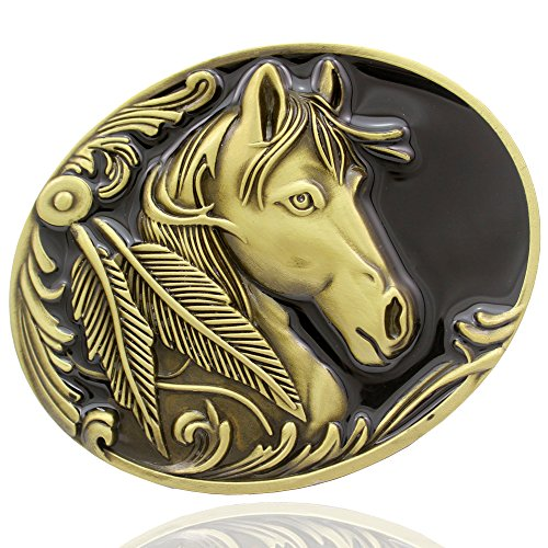 Q&Q Fashion Men Western Vintage Gold Native 3D Horse Head Feather Rodeo Zuni Navajo Belt Buckle