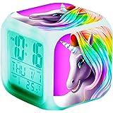 Unicorn Digital Alarm Clocks for Girls, LED Night Glowing Cube LCD Clock with Light Children Wake Up Bedside Clock Birthday G