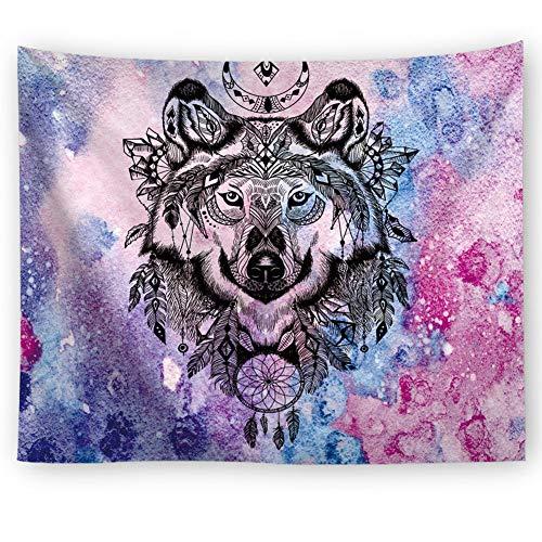 Tapiz decorativo para pared con diseño de lobo étnico indio, luna y atrapasueños, con plumas geométricas de lobo, multicolor 91 * 59iin multicolor