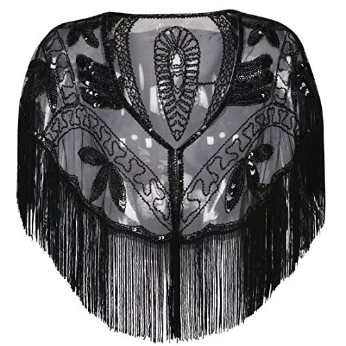kayamiya Damen 1920er Jahren Shawl Beaded Sequin Deco Abend Cape Flapper Cover schwarz