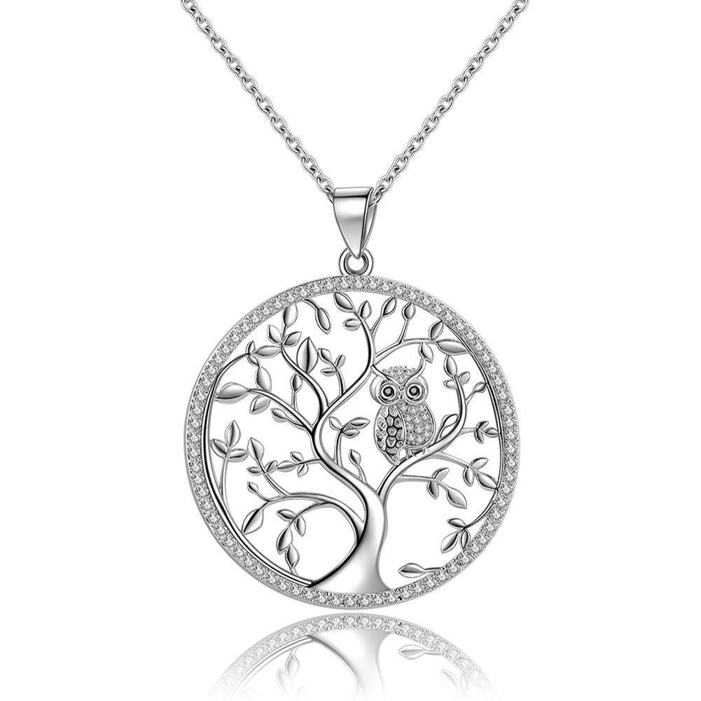 Collar de árbol de la vida y la familia con búho de circonitas y cadena, de GOXO