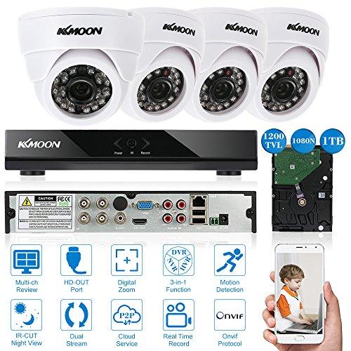 KKmoon-4CH-Full-AHD-1080N-DVR-Grabador-de-Video-P2P-Onvif-1TB-Disco-Duro-4x-1200TVL-IR-Cmara-Domo-de-Vigilancia-4x-65ft-Cable-Visin-Nocturna-AndroidiOS-APP-Deteccin-de-Movimiento
