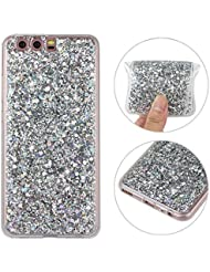 Huawei P10 Hülle, Huawei P10 Glitzer Case Rosa Schleife 3D Bling Shiny Case Transparent TPU Silikon Back Cover Glitter Glitzer Tasche Handyhülle Bling Schale Etui Tasche Case Cover Beschützer Haut Case für Huawei P10 Silber