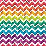 20 Servietten 33x33 cm Regenbogen Farben bunt Zick-Zack Muster
