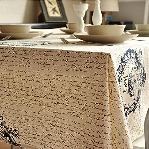 KerRone (TM) Vintage corona toalha lino mantel de toalla de gamuza de mesa café mesa auxiliar SHABBY CHIC casa decoración de mesa, 90 x 90 cm