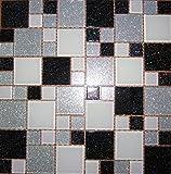 1qm Glas Mosaik Fliesen Matte mit Steinen in Zwei Größen Schwarz, Grün-Weiß und Silber mit Glitzer (MT0034 m2)