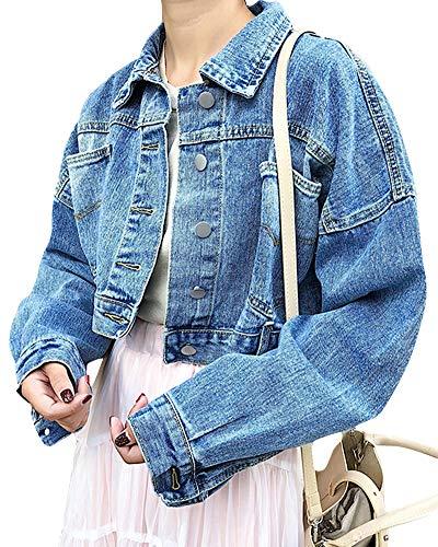 QitunC Damen Cropped Jeansjacke Casual Lange Ärmel Denim Jacke Kurz Jeansmantel Outwear Blau S Lange Ärmel Denim Jacke