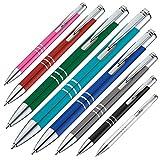 Metal–Bolígrafo de aluminio en 8colores con anillos negros y mina grande 10 unidades turquesa