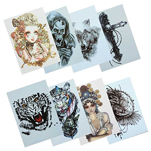 COKOHAPPY 8 Verschiedene Blätter Temporäre Tattoo Tiger Schöne Damen Löwe Kreuz (Halloween Diy Löwe Kostüm)
