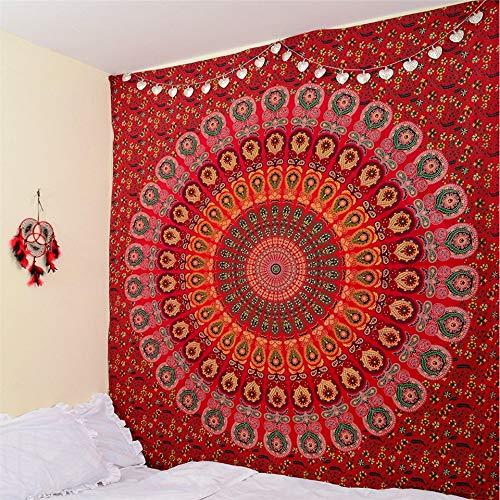Rjjdd Rote Pfau Mandala Wandteppich Wohnkultur Wandbehang In Strand Werfen Decke Rechteck Boho Tagesdecke 150X130Cm