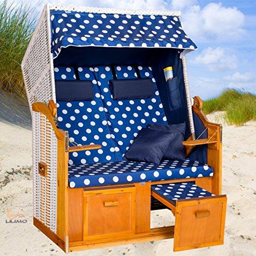 Strandkorb OSTSEE BDW blau, Geflecht weiß, blau-weiß gepunktet, mit Hülle, von LILIMO ® - 2