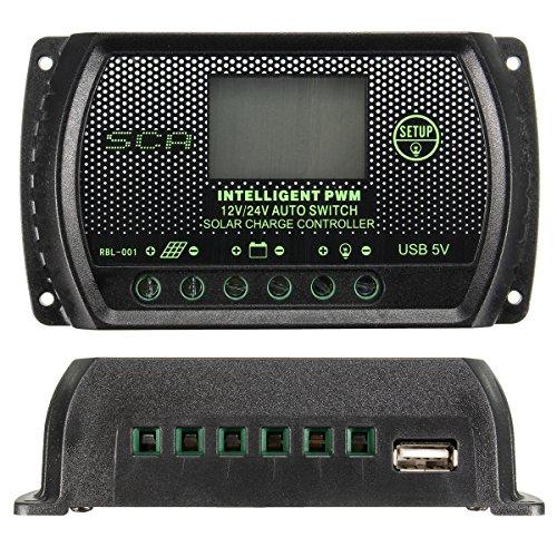 Descripción:  10A 20A 30A PWM LCD USB panel solar regulador de carga de batería 12V 24V  Características:  Exhibición del LCD, exhibición de la energía de la batería Control ligero y tiempo de retardo, protección del aligeramiento, función de enfria...