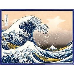 1art1® Katsushika Hokusai Póster Impresión Artística con Marco (Plástico) - La Gran Ola De Kanagawa (80 x 60cm)