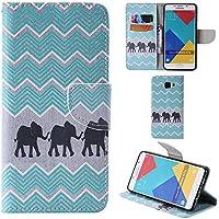 Ooboom® Samsung Galaxy A3 2016 Coque PU Cuir Flip Housse Étui Cover Case Wallet Portefeuille Fonction Support avec Porte-cartes pour Samsung Galaxy A3(2016 Version) - Vague Eléphant