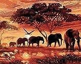 yeesam Art neuen 5D Diamant Painting Kit–Sonnenuntergang Elefanten Gruppe–DIY Kristall Diamant Strass Gemälde eingefügt Malen nach Zahlen Kits Kreuzstich Stickerei