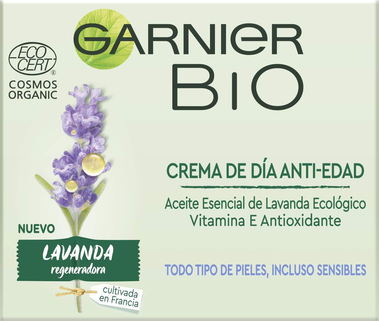 Garnier Bio Crema Anti Edad Regeneradora Aceite Esencial Lavanda y Argán Ecológicos y Vitamina E – 50 ml