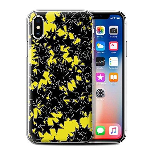 Stuff4 Gel TPU Hülle / Case für Apple iPhone X/10 / Zufälliges Rot Muster / Zerstreute Sterne Kollektion Zufälliges Gelb