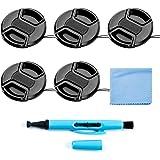 Fotover 37 mm linsskyddspaket, 5-pack universal knäppning på främre mittenknappen linsskyddssats med mikrofiberlins rengöring