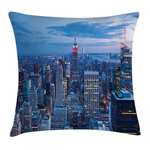 Pillow Cushion Cover, Aerial Night View of NYC with Dusk Sky Cloudy Sunset in City Fashion Capital Art Photo, Decorative Square Accent Pillow CaseBlue 20x20inches ()
