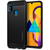 Spigen Rugged Armor Back Cover Case Compatible with Samsung Galaxy M21, M21 2021 Edition and M30s - Matte Black