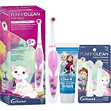 wellsamed FUNNYCLEAN for GIRLS SPAR-SET elektrische Kinderzahnbürste for Kids Batterie-Zahnbürste Mädchen rosa Schmetterling + 4 Bürstenköpfe + 75 ml Braun Oral-B PRO-EXPERT Stages Power Kinderzahncreme Frozen Eiskönigin