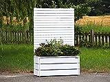 Pflanzkübel Holz mit Sichtschutz, Deckend Geölt Weiß