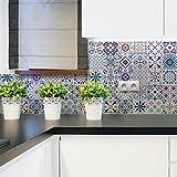 Ambiance-Live col-tiles-ros-a911_ 15x 15cm Stickers Adhesivos carrelages, multicolor, 15x 15cm, Set de 30piezas