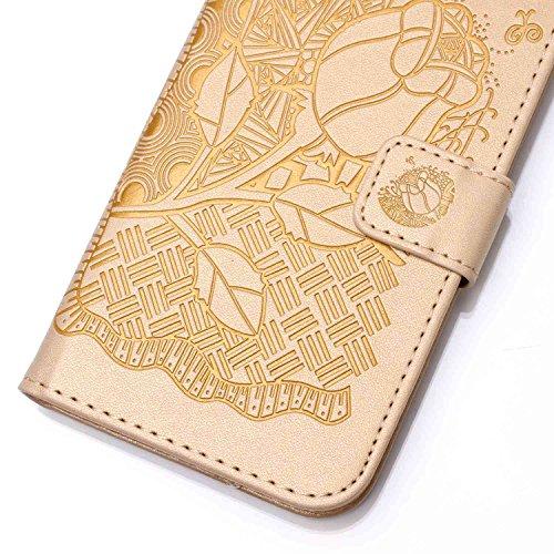 iPhone 6 Plus / 6S Plus Hülle,iPhone 6 Plus / 6S Plus Ledertasche Brieftasche im BookStyle,Cozy Hut Handyhülle iPhone 6 Plus / 6S Plus [Flügel] Muster PU Leder Tasche Schutzhülle Folio Magnetverschlus golden Rose