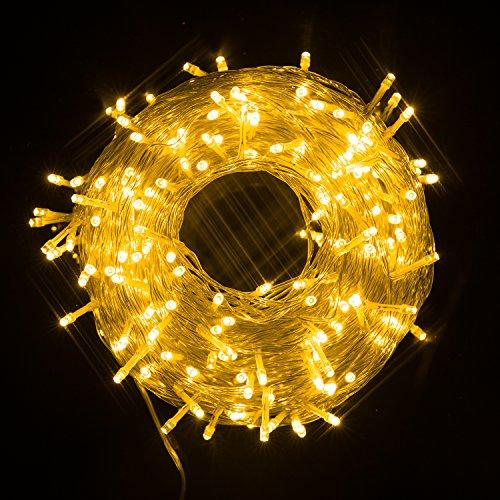Ulinek 50m Licht Lichterkette mit 250 LED-Lämpchen, Hohe Qualität, 8 Lichteffekte, Innen und Außen, Wasserdicht, Dekoration für Party, Garten, Weihnachten, Halloween, Hochzeit (Warmweiß) (Halloween-innen-dekoration)