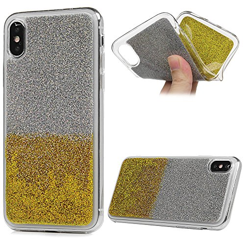 iPhone X Cover Silicone Morbido Gel Gomma Bling - YOKIRIN Stella TPU Case Ultra Sottile Flessibile Per iPhone X - Rosa Oro
