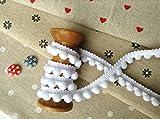 HomeBuy, kleines Bommelband, 10mm x 1m, Weiß, Meterware