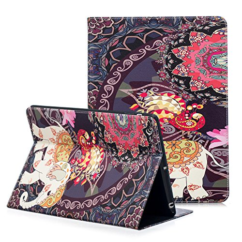 Apple iPad 2/3/4 Fall, zaox iPad Fall 4. Generation, Fashion Art Bedrucktes Leder Ständer iPad Schutzhülle mit Card Slots Pocket Folio Halter Cover für New iPad 3. iPad 2 Nd, Thai Elephant Peacock