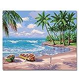 BOSHUN Malen nach Zahlen DIY Ölgemälde für Kinder Erwachsene Anfänger- Strand 16x20 Zoll Leinwanddruck Wandkunst Dekoration (Ohne Rahmen)