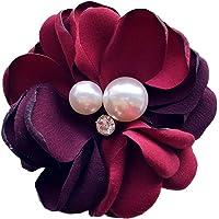 Nowbetter - Spilla da donna a forma di camelia, con fiore e borchie, con collo di perla, decorazione per feste di nozze…