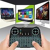 Allcaca 2,4GHz Mini Clavier sans fil Clavier D'ordinateur Portable Clavier Rechargeable avec Touchpad et Rétro-éclairage Coloré, Idéal pour PC, Pad, Android et Google TV Boîte, Raspberry PI, PS4, HTPC / IPTV